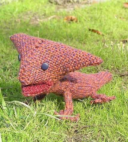 Free knitting pattern for Diplocaulus dinosaur