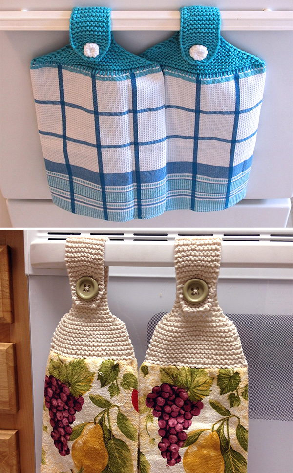 Free Knitting Pattern for Dish Towel Topper Kitchen Set