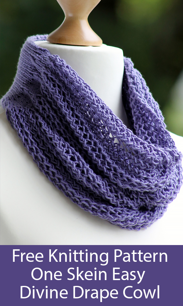 Free Knitting Pattern for One Skein Easy Divine Drape Cowl