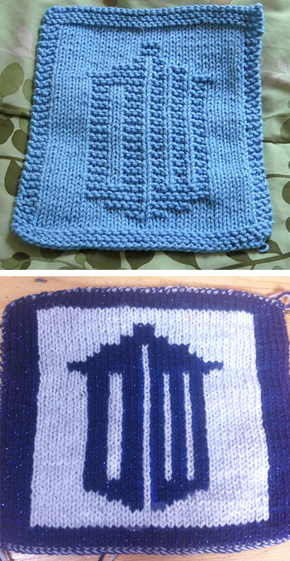 Free Knitting Pattern for Doctor Who Logo Dishcloth