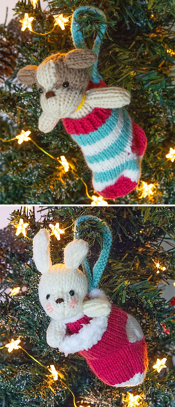 Free Knitting Patterns for Puppy or Bunny in Stocking Ornaments