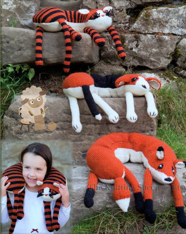 Knitting Pattern for Dog, Cat, and Fox Neck Pillows