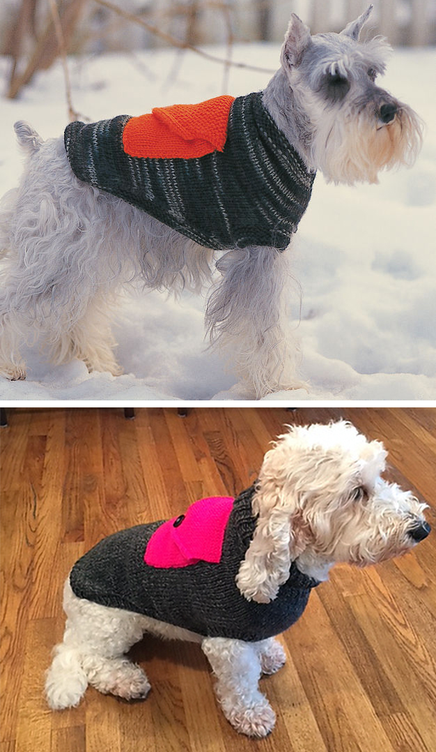 Free Knitting Pattern for Dog Coat With Cargo Pocket