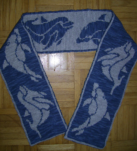 Free knitting pattern for Dolphin Double Knit Scarf and more sea creature knitting patterns