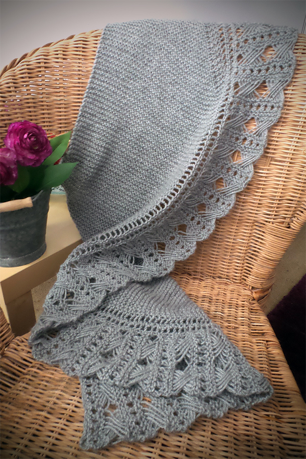 Free Knitting Pattern for Dominika Shawl