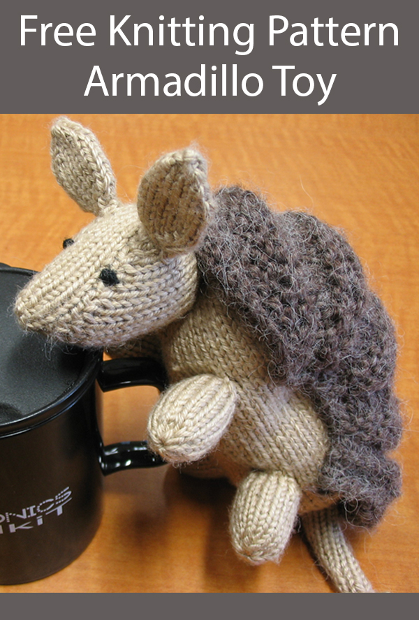 Free Knitting Pattern for Armadillo Toy Softie