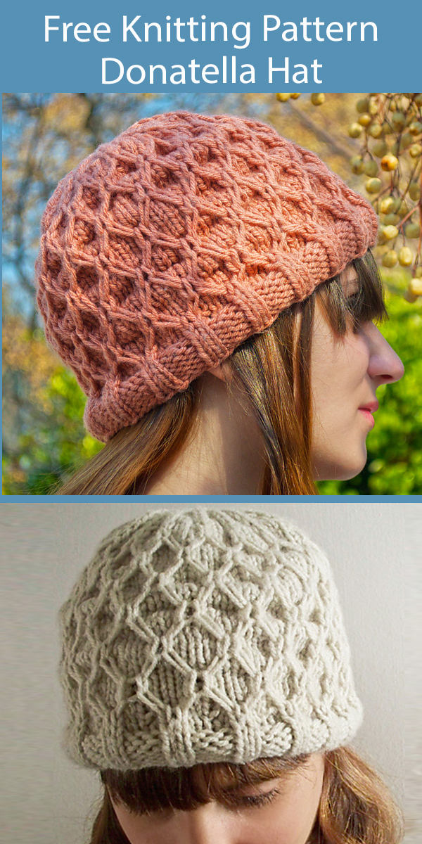 Free Hat Knitting Pattern Donatella Hat