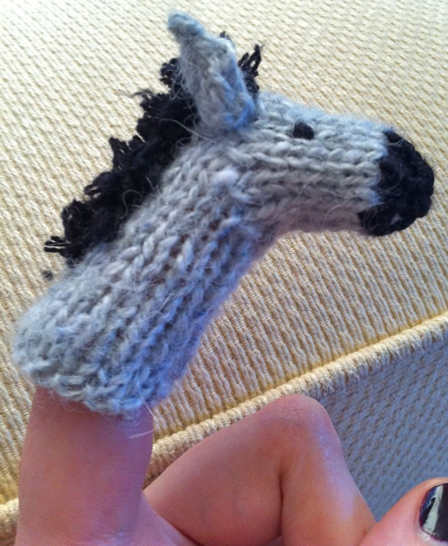 Free Knitting Pattern for Donkey Finger Puppet or Pencil Topper