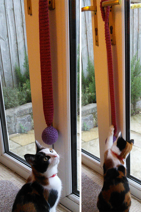 Free Knitting Pattern for Bouncy Door Hanger Cat Toy