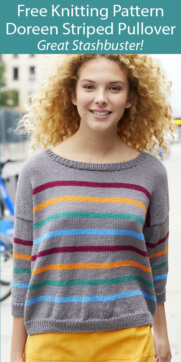 Free Knitting Pattern for Doreen Striped Sweater Stashbuster Sizes S to 3XL