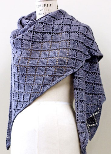 Free knitting pattern for Dorothea Wrap and more diamond stitch knitting patterns