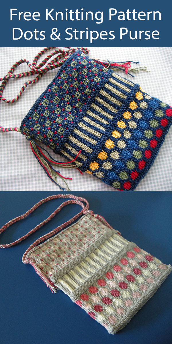 Free Purse Knitting Pattern Dots and Stripes Purse