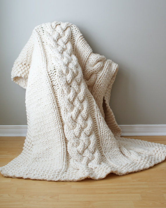 Knitting pattern for Super Chunky Double Cable Throw and more cable afghan knitting patterns