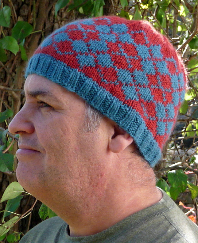 Free Knitting Pattern for Double Diamond Argyle Hat