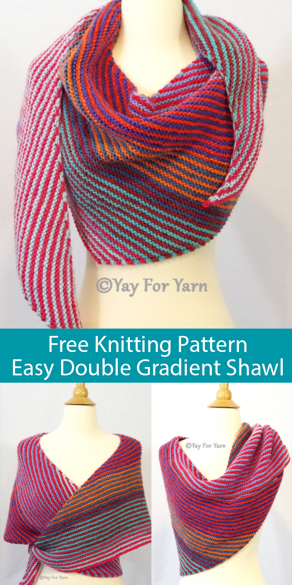 Free Knitting Pattern for Easy Double Gradient Boomerang Shawl
