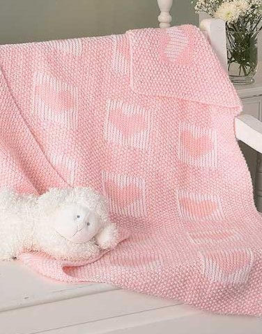 Knitting Pattern for Double Hearts Baby Blanket