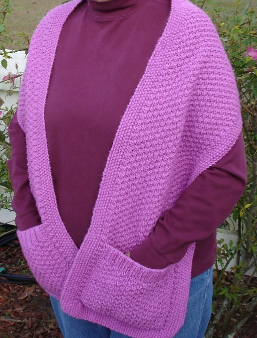 Free Knitting Pattern for Double Moss Stitch Shawl