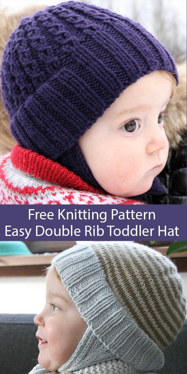 Free Knitting Pattern for Easy Double Rib Toddler Hat With Cables or Stripes