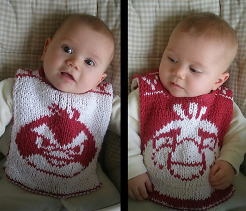 Down With Pigs Baby Bib Free Knitting Pattern