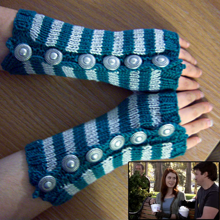 Free Knitting Pattern for Dr. Horrible Sing-A-Long Wristers