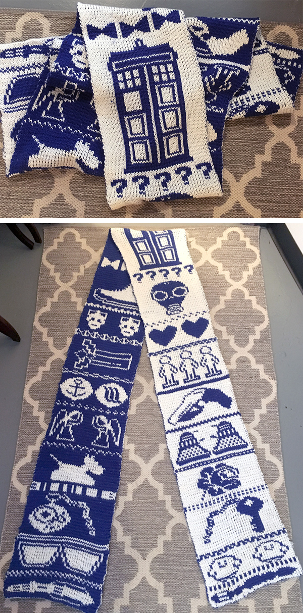 Free Knitting Pattern for Doctor Who Double Knit Scarf