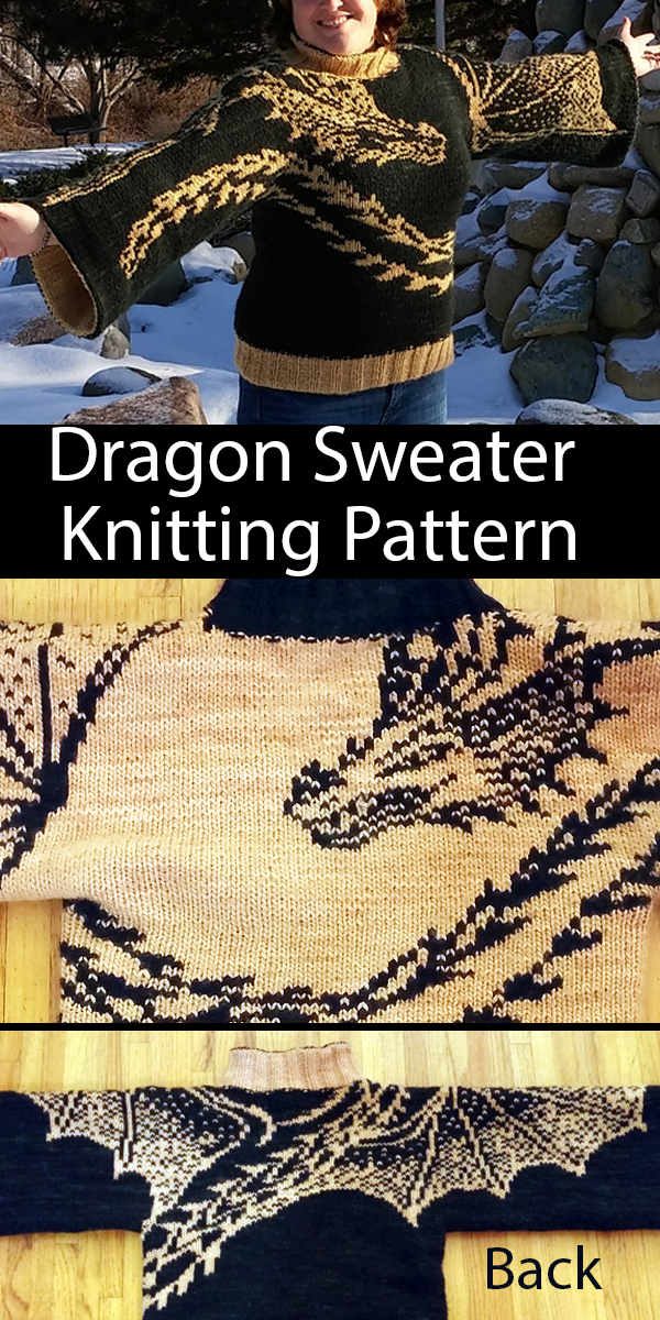 Knitting Pattern for Winged Dragon Kimono Sweater
