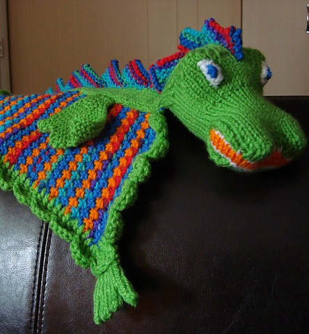 Free knitting pattern for Dragon lovey baby blanket buddy