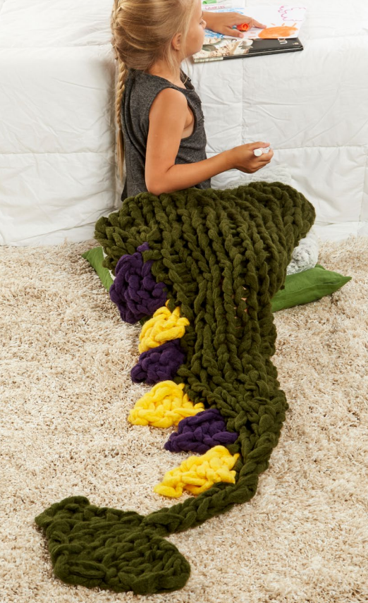 Free Knitting Pattern for Arm Knit Dragon's Tail Blanket