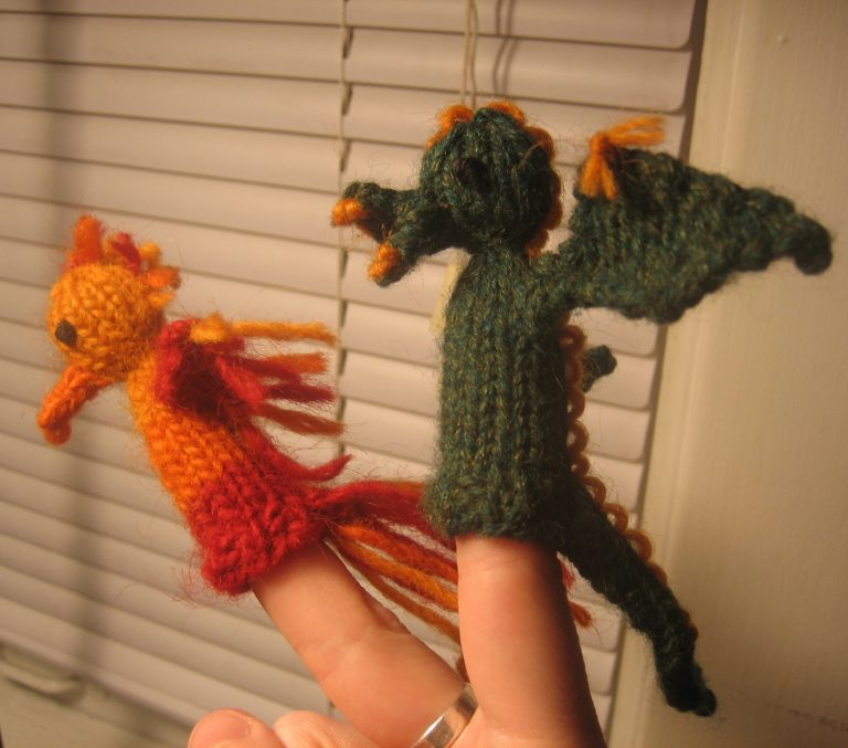 Free Knitting Pattern Dragon and Phoenix Finger Puppets