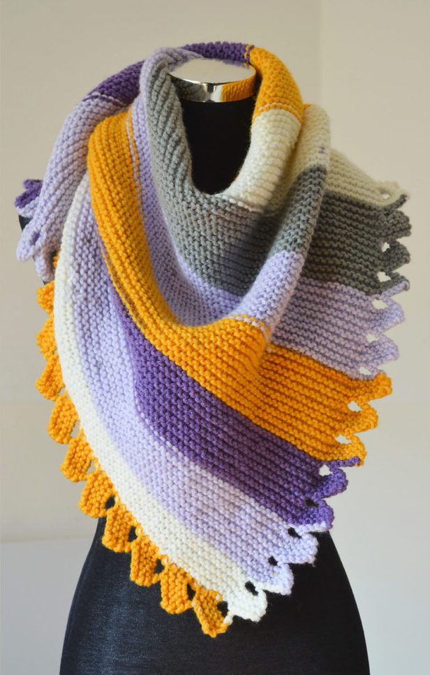 Free Knitting Pattern for Dragon Tail Shawl