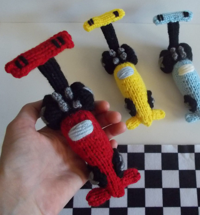 Free Knitting Pattern for Dragster Race Car Toy