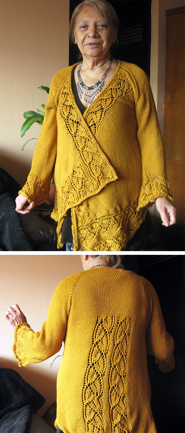 Knitting Pattern for Dramatic Lace Wrap Cardigan