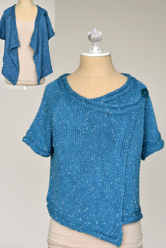 Free Knitting Pattern for Drape Front Cardigan