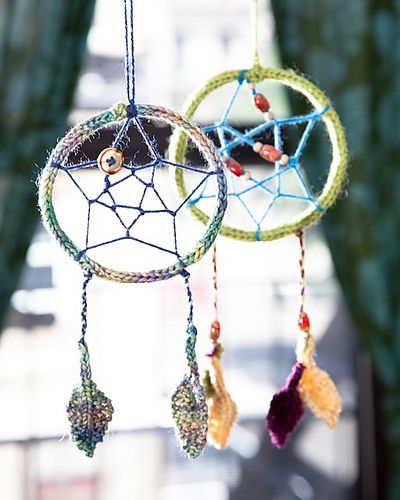 Free knitting pattern for Dream a Little Dream Dream Catcher and more last minute gift knitting patterns