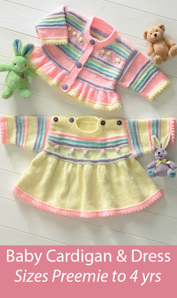 Free Baby Knitting Pattern Baby Dress and Cardigan Stashbuster