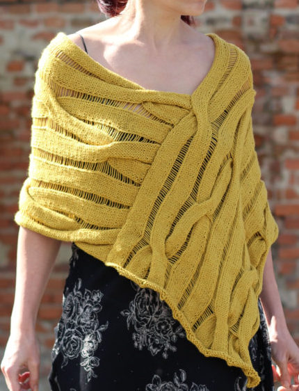 Knitting Pattern for Cable Drop Stitch Poncho