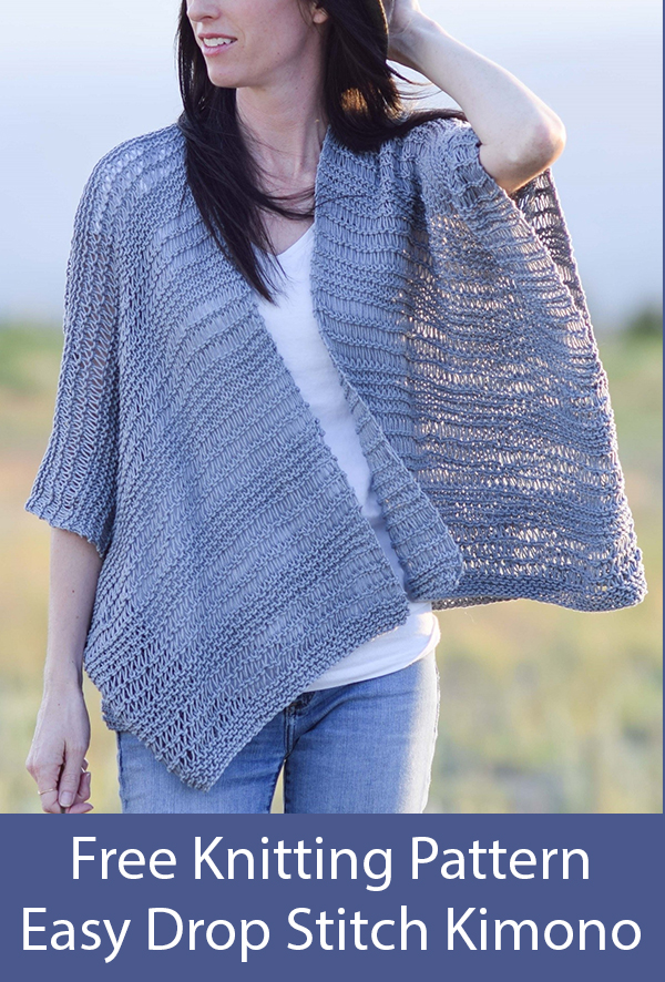 Free Knitting Pattern for Easy Drop Stitch Cotton Kimono