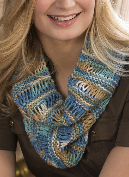 Free Knitting Pattern for One Skein Drop Stitch Cowl
