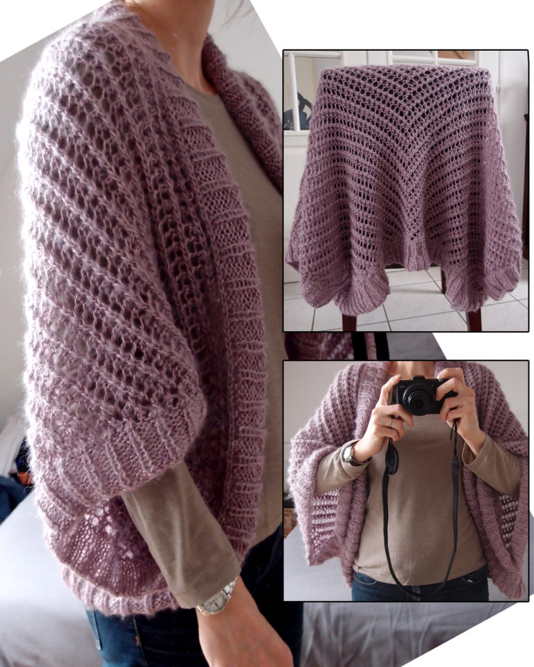 Free Knitting Pattern for Lace Sweater Wrap