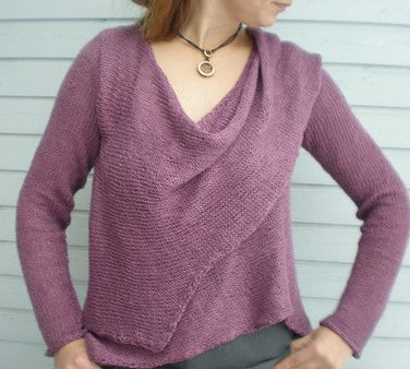 Free knitting pattern for asymmetric wrapped cardigan by Drops
