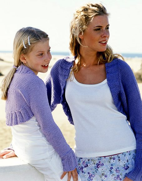 Free knitting pattern from Mom and Me Shrug