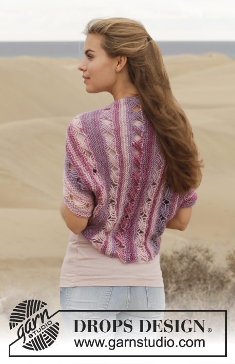 Free knitting pattern for Thinking of You Shrug by Drops Design