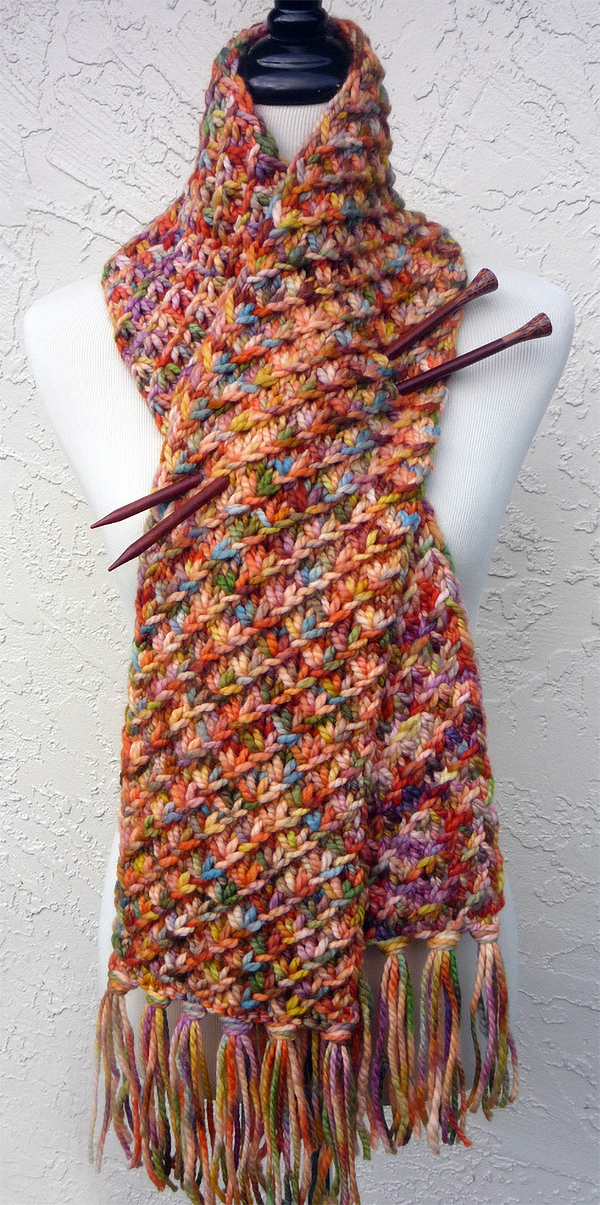 Free Knitting Pattern for Easy Star Stitch Scarf