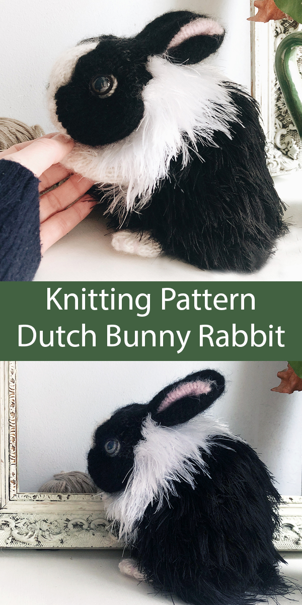 Knitting Pattern for Dutch Bunny Rabbit Toy Softie Knit Flat