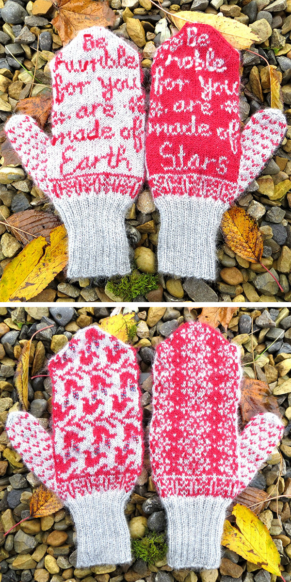 Free Knitting Pattern for Earth and Stars Mittens