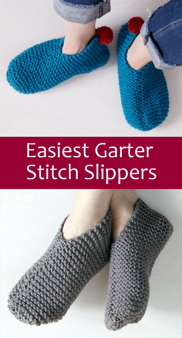 Free Knitting Pattern for Easiest Garter Stitch Slippers