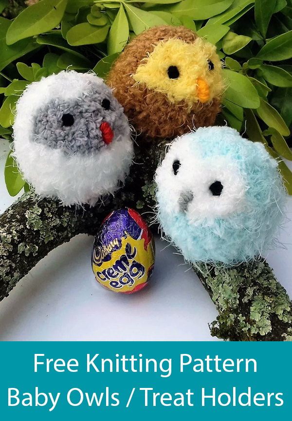 Free Knitting Pattern for Easy Owl Baby Treat Holders