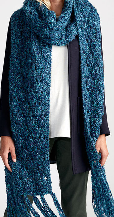 Free Knitting Pattern for Easy Breezy Super Scarf