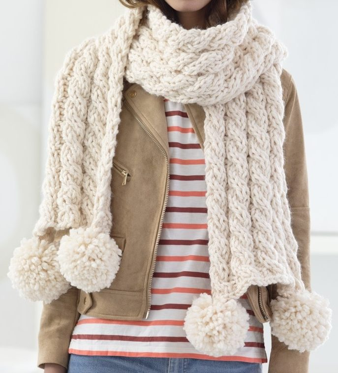 Free Knitting Pattern for 4 Row Repeat Cabled Scarf