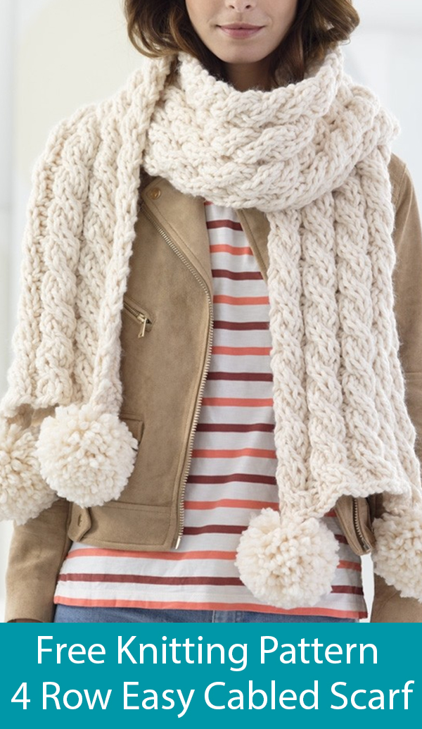 Free Knitting Pattern for Easy 4 Row Repeat Cabled Scarf